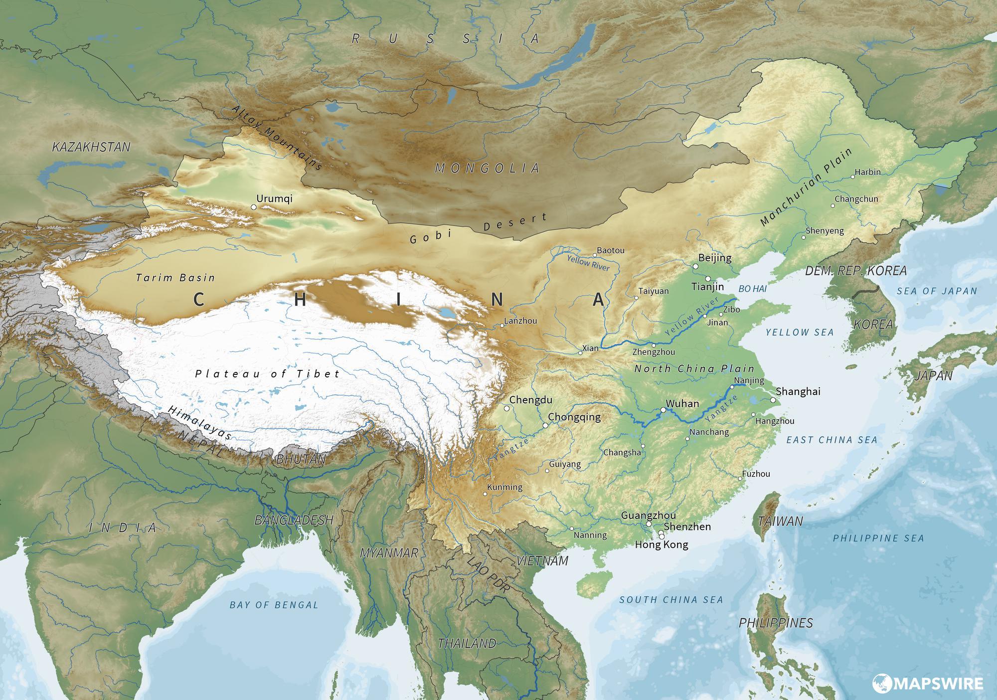 Image of: China Physical Map Large Background Check Shi Group China